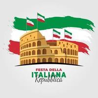 pôster do dia da república italiana com o Coliseu vetor