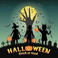 crianças de halloween na frente da mão do diabo no cemitério vetor