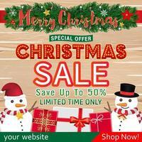 desenho de banner de venda de natal com caixa de presente de boneco de neve vetor