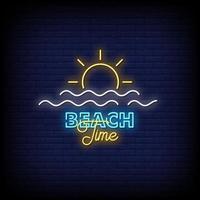 Vetor de texto de estilo de sinais de néon de tempo de praia