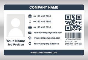 vetor de modelo de cartão de identificação de funcionário simples azul