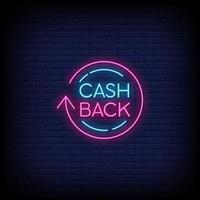 vetor de texto de estilo de sinais de néon cashback