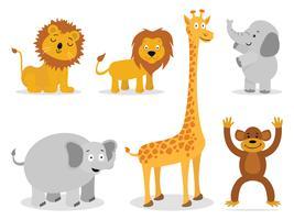 Vetores de animais: leão, macaco, girafa, elefante