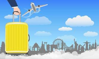 mão com mala de viagem viajar ao redor do mundo vetor