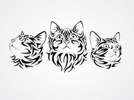 Vetores de gatos tribais
