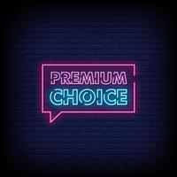vetor de texto de estilo de sinais de néon escolha premium