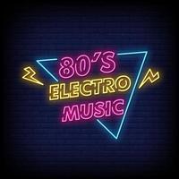 vetor de texto de estilo de sinais de néon electro music