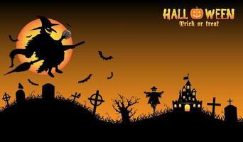 bruxa com fundo de halloween vetor