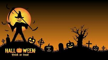 assassino de abóbora de halloween em um cemitério vetor