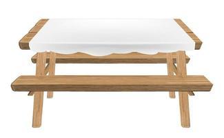 mesa de piquenique de madeira com vetor de toalha de mesa branca