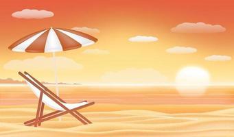 relaxe o guarda-sol da cadeira de praia com o pôr do sol no mar vetor