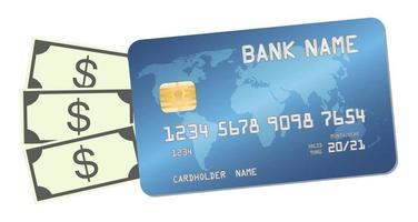 cartão de crédito com dinheiro notas dólares vetor