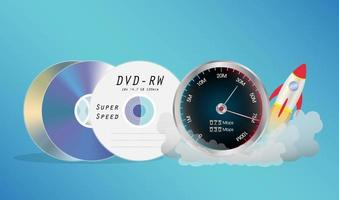 disco de dvd com medidor de velocidade vetor