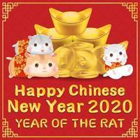feliz ano novo chinês 2020 ano da bandeira do rato vetor