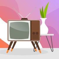 Televisão retrô plana com ilustração em vetor fundo gradiente