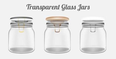 potes de vidro transparente vetor
