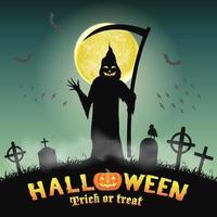 silhueta de halloween ceifador no cemitério noturno vetor