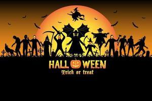 conjunto de assassino em série monstro zumbi halloween vetor