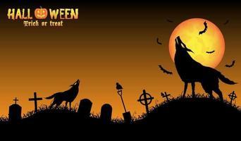 lobo uivando com fundo de halloween vetor
