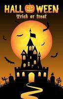 fundo de halloween com antigo castelo no cemitério vetor