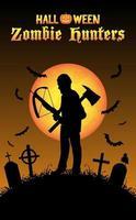 caçador de zumbis de halloween com besta no cemitério vetor