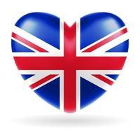 vetor da forma do coração da bandeira do Reino Unido da Inglaterra