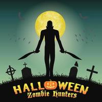 caçador de zumbis de halloween com faca no cemitério vetor