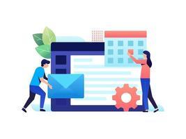 trabalho em equipe e colaboração do produto vetor