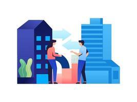 fusão e colaboração de empresas vetor