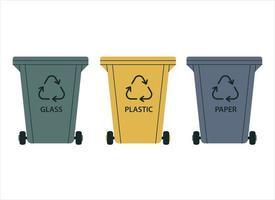 recipientes de lixo para classificação. plástico, vidro e papel. reciclagem de resíduos, materiais recicláveis. vetor
