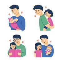 pai e filha conjunto de caracteres vetor