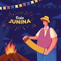 festa junina com fogueira e instrumentos musicais vetor