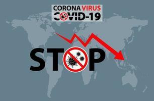 texto parar sinal de alerta coronavírus covid 19 no mapa da Terra vetor