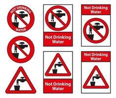não bebendo água símbolo sinal isolado no fundo branco vetor