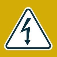 sinal de alta tensão. símbolo de perigo. seta preta isolada no triângulo branco sobre fundo amarelo. ícone de aviso. ilustração vetorial vetor