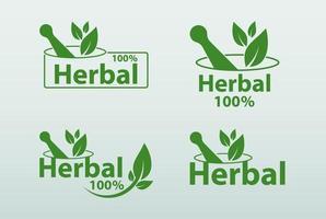 modelo de logotipo de ervas verdes, ervas 100 em fundo branco vetor