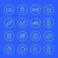 ícones de linha fina de fitness e ginásio vetor
