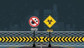 sinal de alerta coronavírus covid-19 doença, não passe. há uma epidemia na cidade. vetor