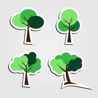 símbolos, conjunto de ícones de árvore, ilustração vetorial vetor