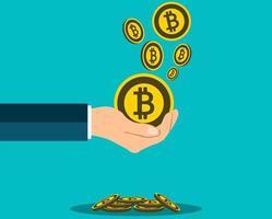 conceito de bitcoin de negócios segurando a mão. Ganhe uma medalha de bitcoin vetor
