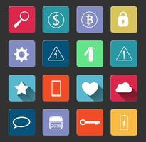 sinais de aviso e ícones sociais com símbolos longos shadow.symbols usados na vida cotidiana. ilustrador de vetor de aplicação