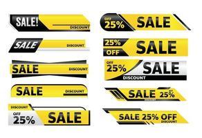 design de tag de promoção de banner amarelo de venda para marketing vetor