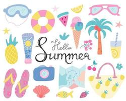 conjunto de verão, praia e objetos turísticos para decoração com letras de mão em um fundo branco. ilustração vetorial em estilo simples vetor