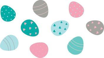 ovos de páscoa decorados isolados no fundo branco. ilustração em vetor plana