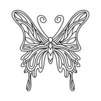livro de colorir borboleta. ilustração linear de uma borboleta. o inseto mandala. ilustração vetorial vetor