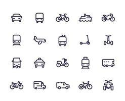 conjunto de ícones de linha de transporte, carros, trem, avião, van, bicicleta, motocicleta, ônibus, táxi, tuk tuk, quadriciclo, metrô, transporte público vetor