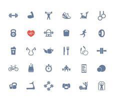 30 ícones de fitness, ginásio, treino, treino e exercícios vetor