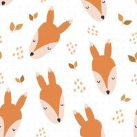 desenho de cabeça de raposa fofo doodle padrão sem emenda vetor