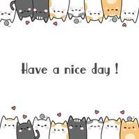 Fofo gato gordinho gatinho família saudação cartoon cartão doodle vetor