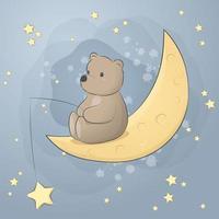 fofo urso de pelúcia sentado na lua desenho animado estrela de pesca doodle vetor